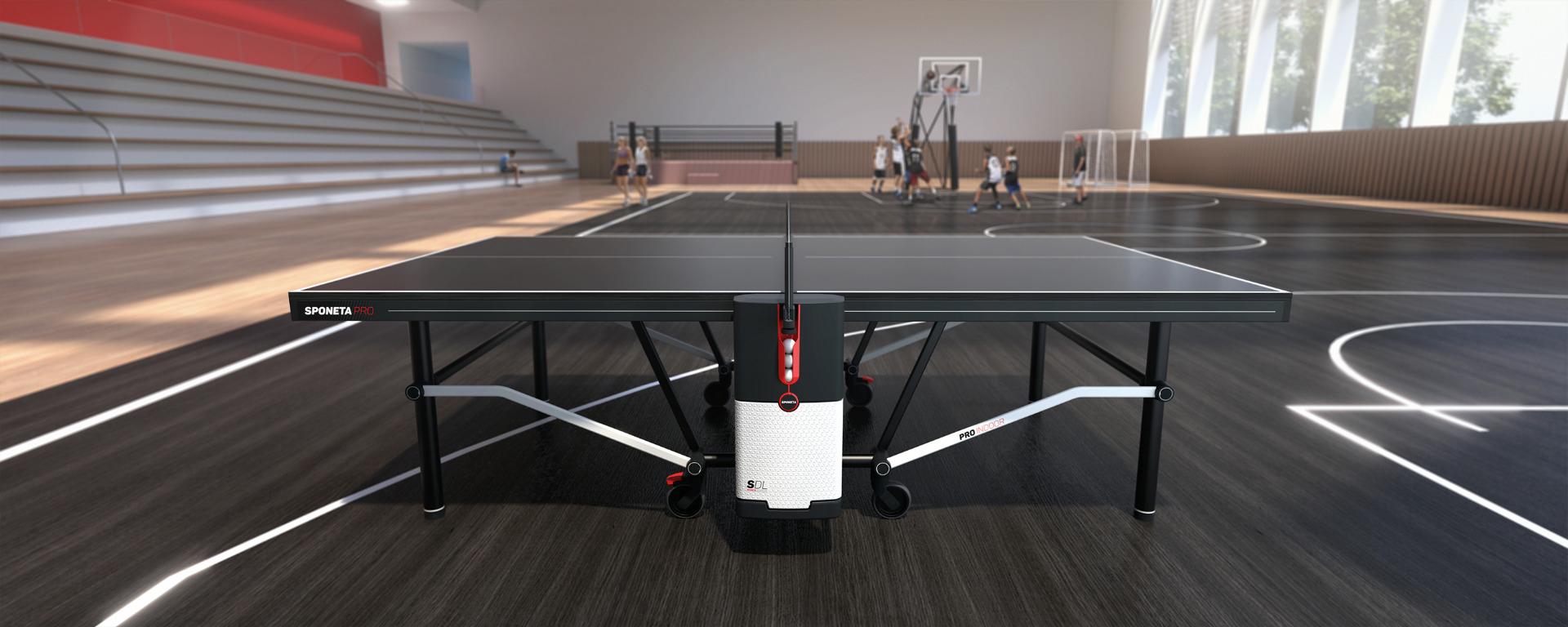 sponeta sdl tafeltennistafel indoor pro edition in gymzaal